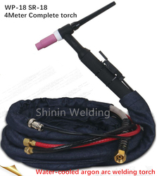 WP-18 water-cooled argon arc welding torch M16 nut stainless steel circulating water cooling argon arc welding gun line 4METER