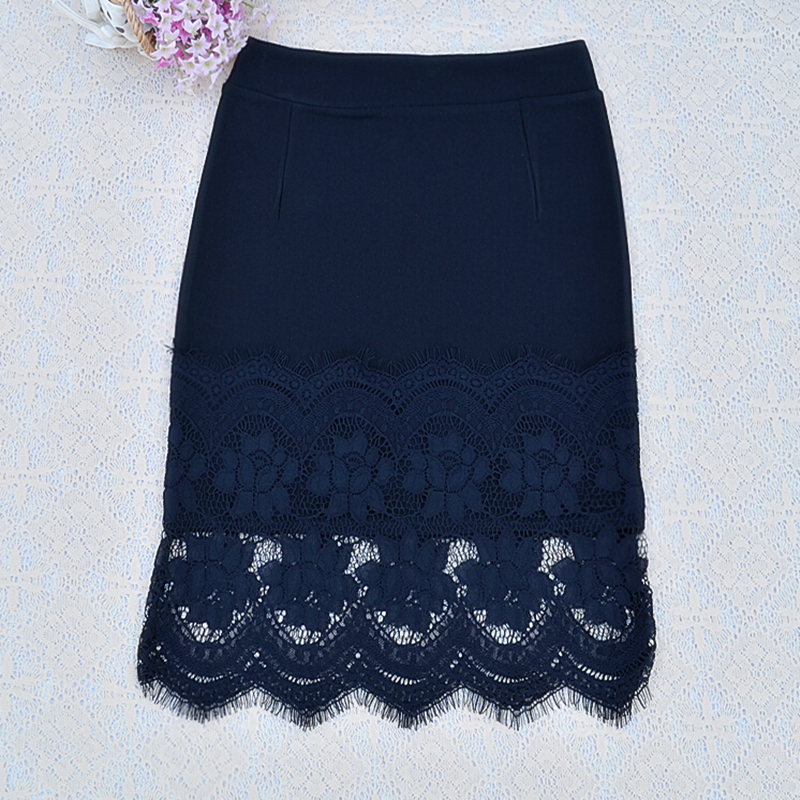 Skirts 2017 Women's Skirt New Spring Summer Professional Pen Slim Waist And Knee Elastic Cotton Lace Stitching Sexy Slim Bag Hip 5