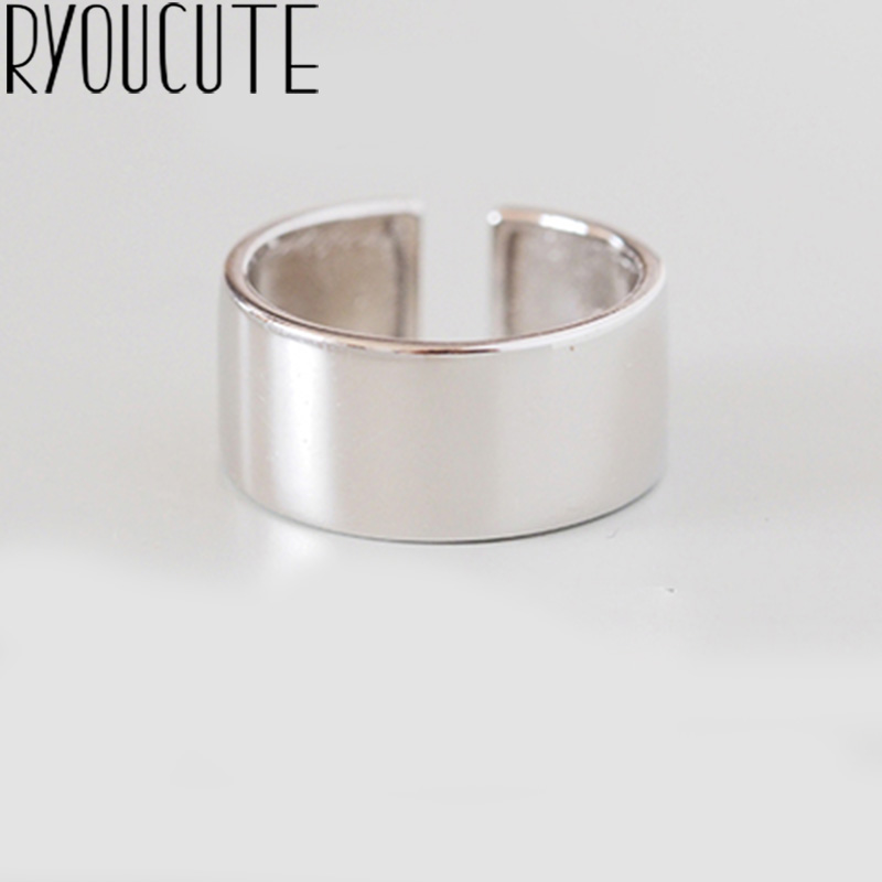 Punk Style Vintage Retro 925 Sterling Silver Smooth Rings For Women Romantic Adjustable Large Antique Finger Rings Anillos