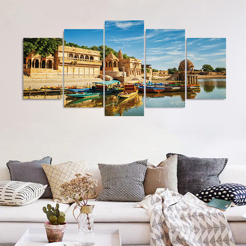 Hot 5pcs/set 3D Vivid Effect Beautiful City Landscape Wall Sticker Wall Decals Poster Mural Living Room Bedroom Home Decor(China)