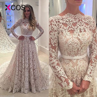 XCOS Vestido De Noiva 2018 Vintage Wedding Dress Lace A Line Boat Neck Long Sleeves Elegant Bridal Gown Plus Size