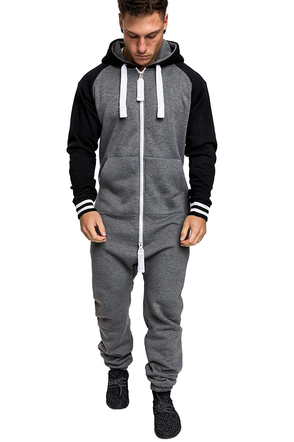 Casual Autumn Hooded Tracksuit Jumpsuit Long Pants Romper For Male Mens Fleece warm Overalls Sweatshirts Male Streetwear X9126 28