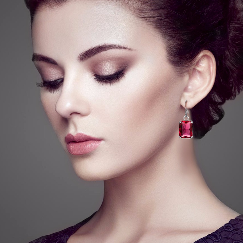 Women Earrings Vintage 925 Sterling Silver Fine Jewelry Retro Bohemia Pendientes Lab Ruby Emerald CZ Stone Lady Party Eardrops