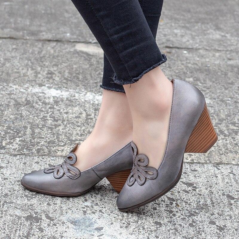 女性の革は 7 センチメートルハイヒール Emboridery 春靴手作り本革の女性は怠惰な靴 2019 ブランド Tyawkiho  グループ上の 靴 からの レディースパンプス の中 2