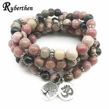 Ruberthen 2018 Natürliche Schwarze Vene Rhodonit Armband Baum des Lebens Ohm Charme Armband Healing Perlen Armband Für Frauen