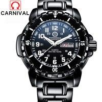 Карнавал Militray Diver часы Для мужчин T25 трития Световой кварцевые наручные часы спортивные Водонепроницаемый 200 м Для мужчин s часы Xfcs м черный ч