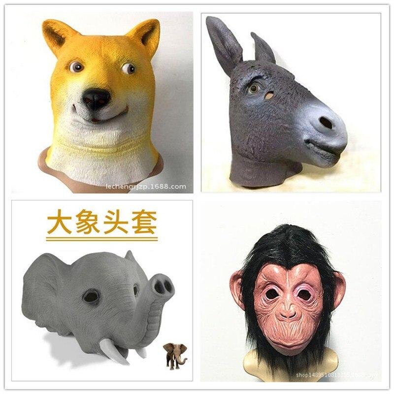 Hot Sale Elephant Masks Halloween Adult Animal Mask Realistic Dog/Monkey/Cow/Donkey/Unicorn Mask Cosplay Props Party Fancy Dress