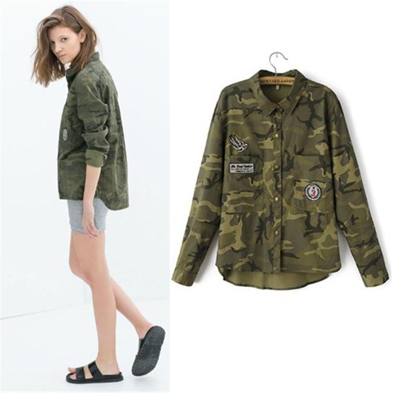 2018 Fashion womens novel leisure long-sleeved camouflage slim embroidered coat jacket high quality Female