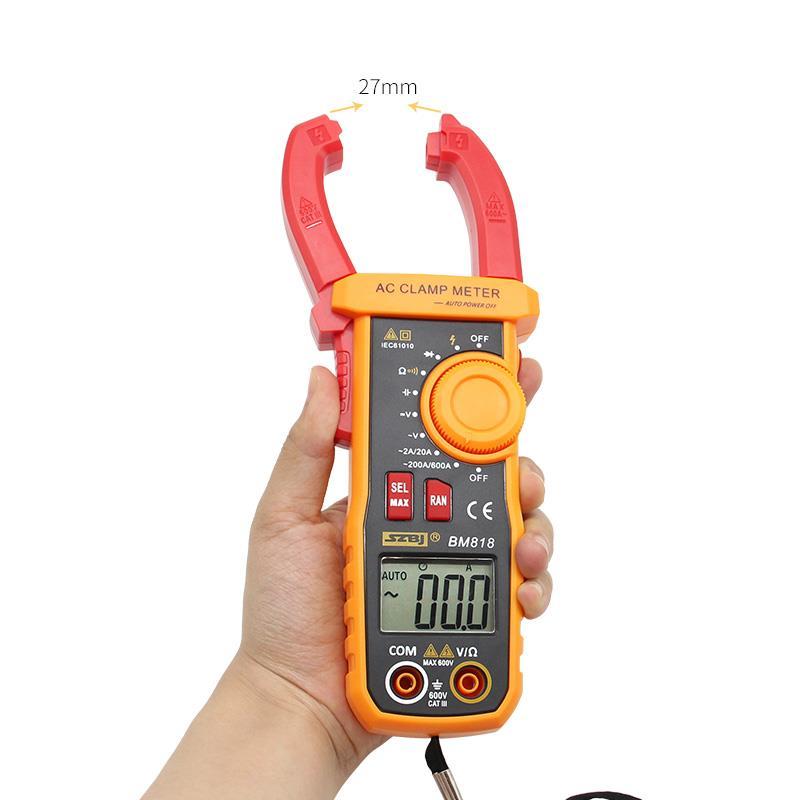 Szbj bm818 전류계 대형 커패시턴스 ncv 디지털 클램프 미터의 acv/dcv aca 자동 범위 측정