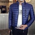 Casacos de inverno Dos Homens 2016 Homens Casacos de Inverno e Casacos Sólidos Magro 4XL casaco Azul Gola Fashion Casaco Quente tamanho Grande Masculino