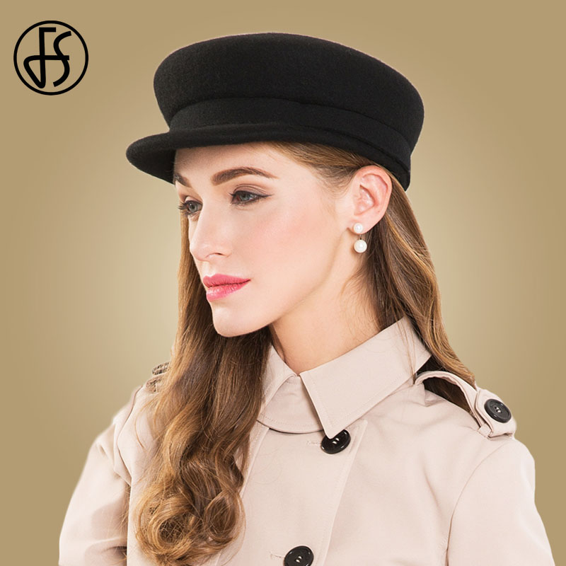 99092bb75 FS 100% Wool Felt Hats For Women Fall Winter Black Literary British Military  Hats Lady Navy Flat Cap Chapeu Gorra Capitan Barco-in Men's Military Hats  from ...