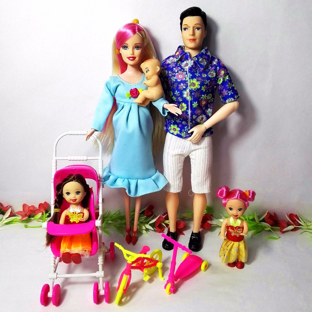 Toys Familia 5 Personas Trajes de muñecas 1 mamá / 1 papá / 2 Little Kelly Girl / 1 Baby Son / 1 Baby Carriage Real Pregnant Doll Gifts, YF-88