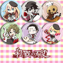 Anime Del Fumetto Satsuriku No Tenshi Angels of Death Ray Zack Martinetti Spille Pulsante Spilla Distintivi e Simboli 6 pz Halloween Cosplay Distintivo regalo(China)