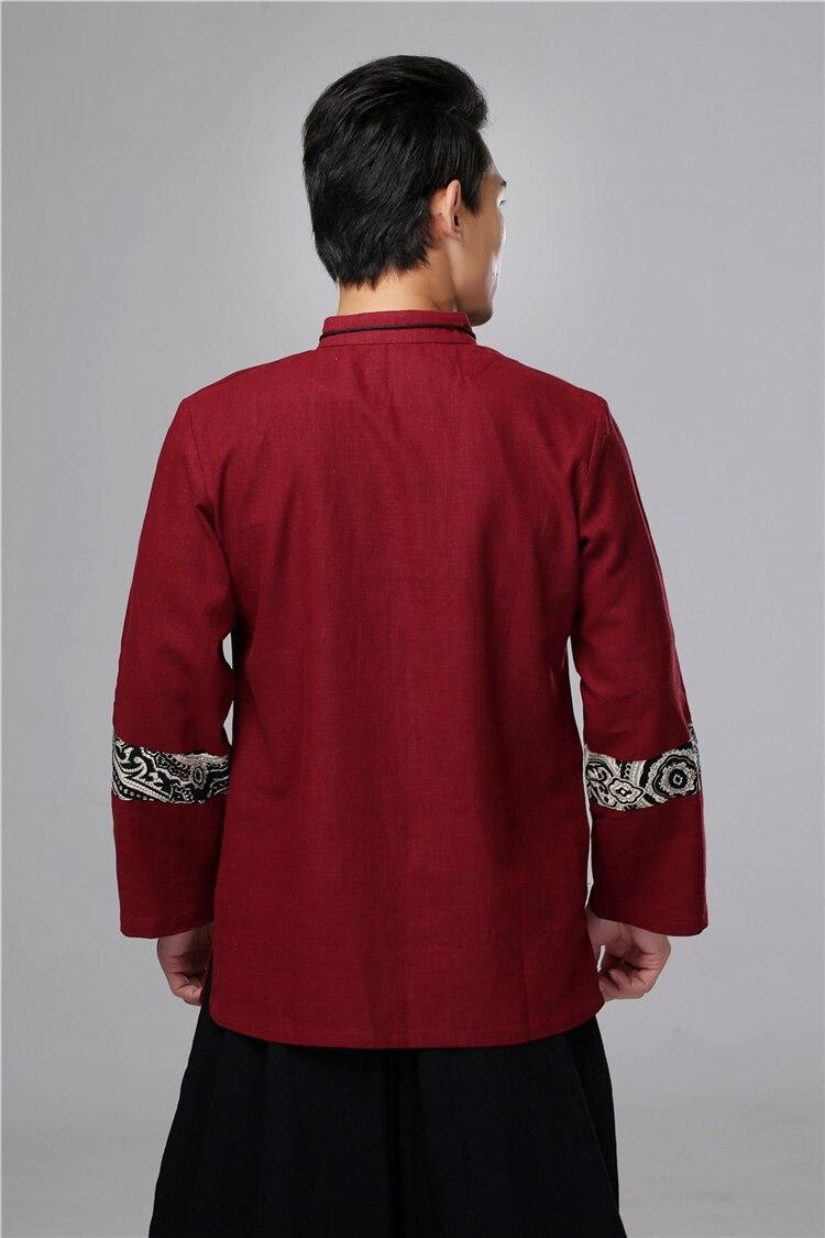 Chinois traditionnel oriental vêtements veste automne haut manches longues kungfu haut avec bouton tangzhuang chemise en lin - 6