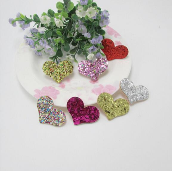 3.7x2.8cm Glitters Heart Padded Appliqued 50pcs Felt butterfly patches stick-on Cloth/hat/shoe/bag/jewelry decoration