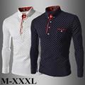 New Fashion Gentleman Polka Dot Style Men Shirt Casual Long Sleeve Cotton Shirt M-XXXL