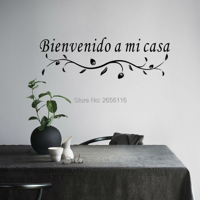 Superior Spanish Wall Lettering Bienvenido A Mi Casa Quote Vinyl Wall Stickers For  Living Room