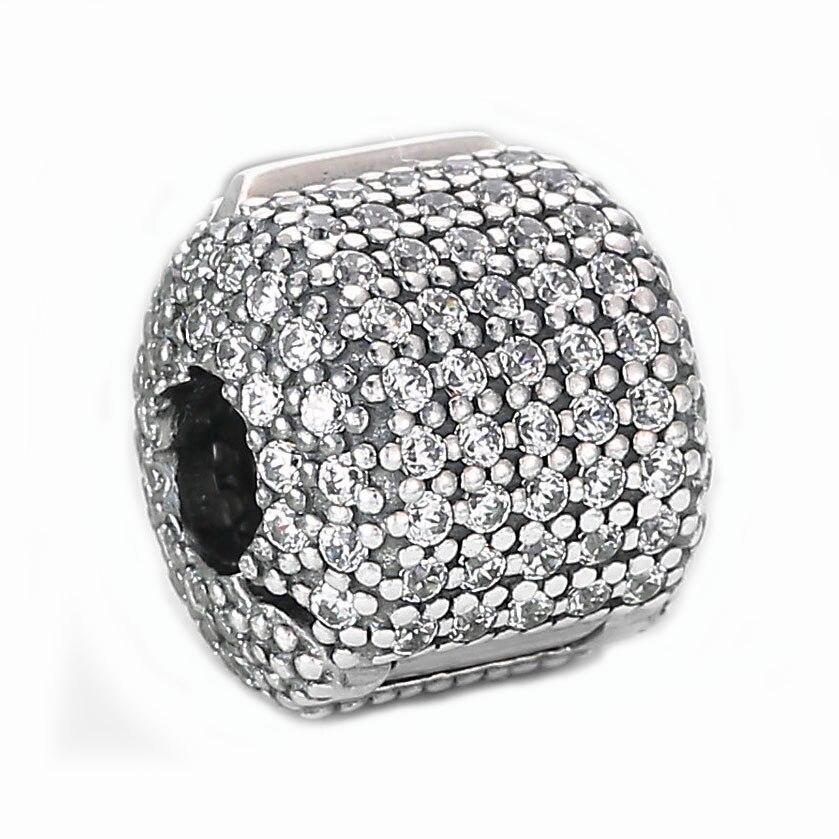 Authentische 925 Sterling Silber Perle Charme Pflastern Barrel Mit Kristall Clip Stopper-korne...