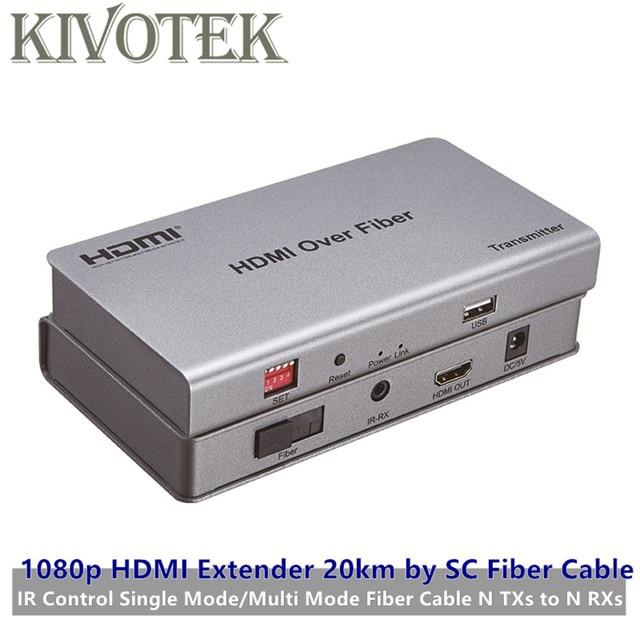 Émetteur récepteur dextension HDMI adaptateur 20km par câble Fiber SC, avec IR, fibre de Mode Signal/Fiber multi mode, N TXs à N RXs livraison gratuite
