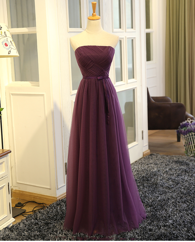 SOCCI Weekend Strapless Purple Long Evening Dress Charming Tulle Burgundy Evening Gown Formal Wedding Reception Vestido de Longo 3