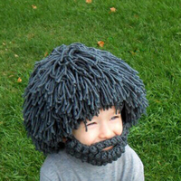 Special Creating Wool Hand Knitted Children Kids Hat Wig Big Beard Style 100 Top Good