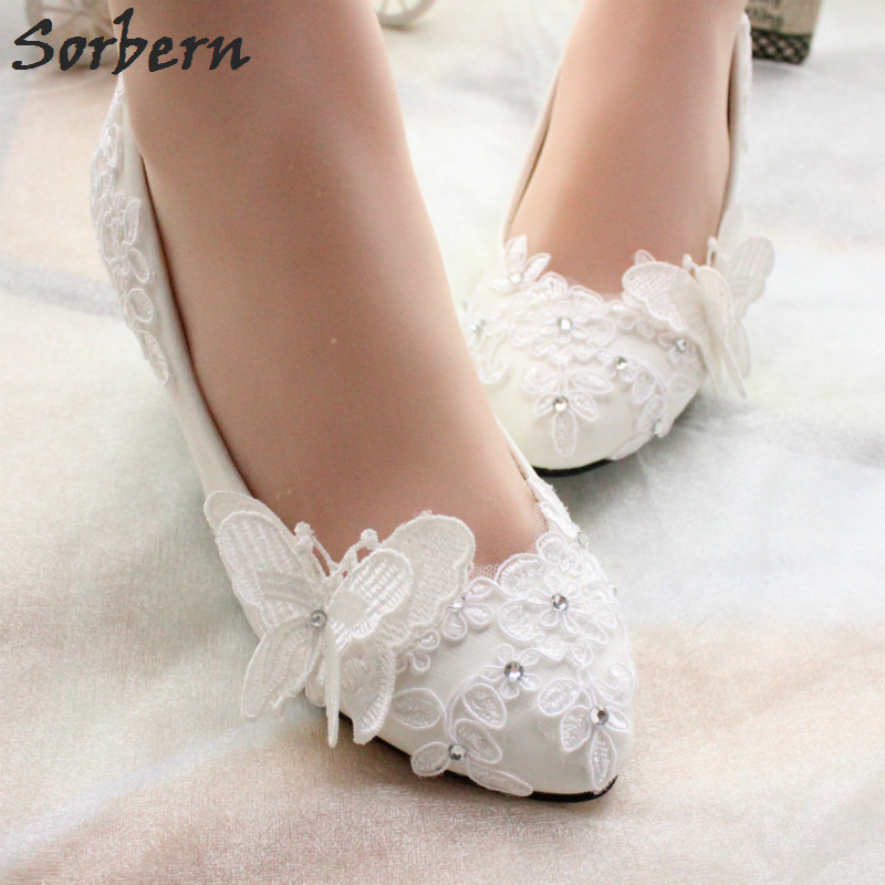 Sorbern White/Red Butterfly Lace Wedding Shoes Crystal Appliques Pumps Med Heels Bridesmaid Girls Shoes Pump High Heel New lace butterfly flowers laser cut white bow wedding invitations printing blank elegant invitation card kit casamento convite
