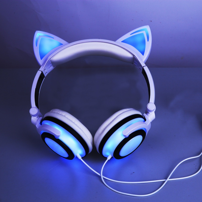Colorful Foldable Flashing Glowing cat Ear Headphones Gaming Headset Earphone with LED Light for PC Laptop Mobile Phone