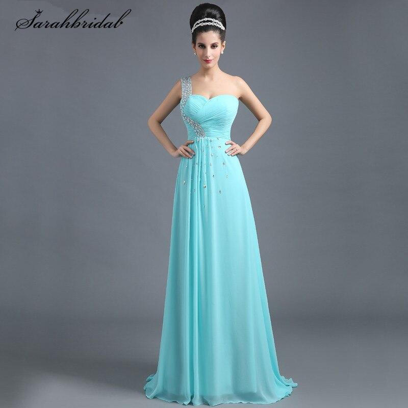 Charming Ever Pretty Long   Prom     Dresses   A Line Zipper Floor Length Crystal One Shoulder Evening   Dress   Vestido De Festa SD292