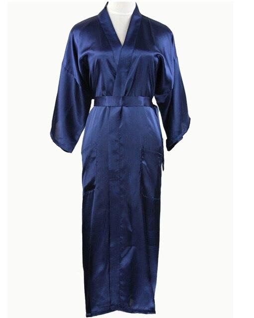 Темно-синий китайских мужчин шелковый район халат летом свободного покроя пижамы v-образным вырезом кимоно юката ванна платье Большой размер sml XL XXL XXXL NM012