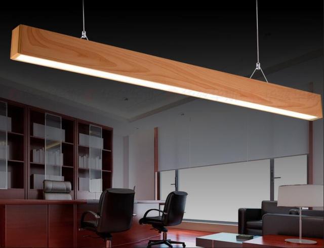 Imitation Wooden Led Lighting Pendant Lights Office Studio Wood Aluminum Rectangular Table Line Mz116