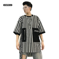 Men High Street Fashion Casual Striped Short Sleeve Tees Shirts Male Women Hip Hop T Shirt