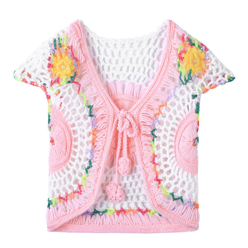 Spring Handmade Baby Girls Crochet Jacquard Knitted Cardigan Waistcoat Vest Beautiful Pink Toddler Infantil Baby Clothing