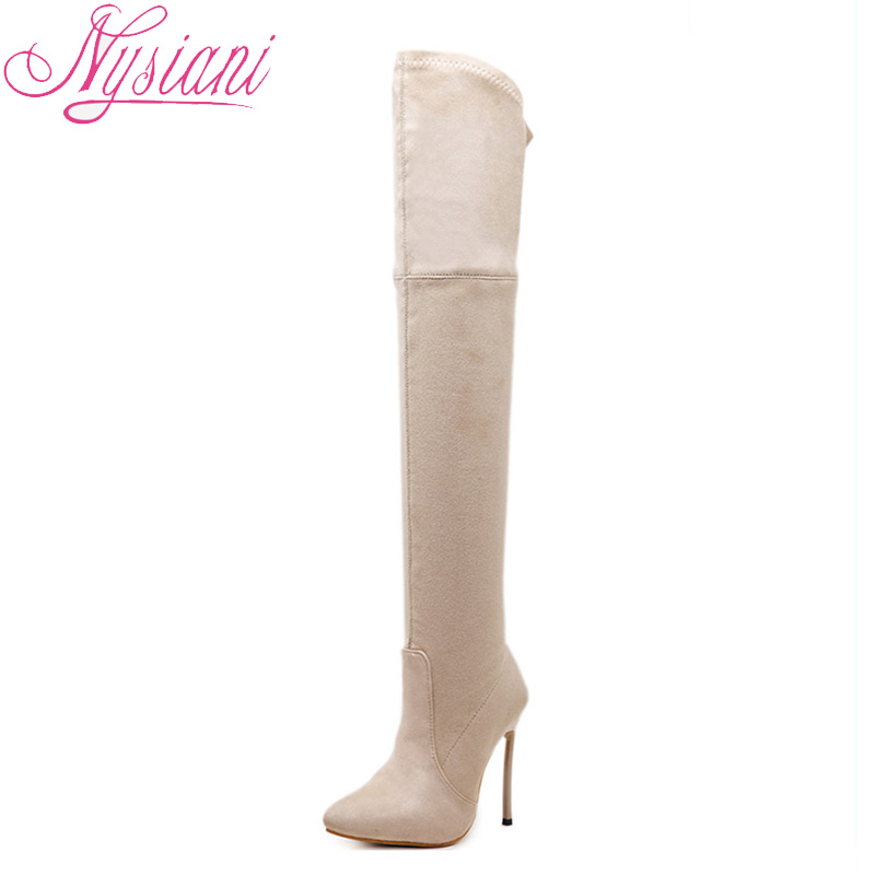 2018 Pointed Toe Sexy Ultra High Heels Over The Knee Boots For Women Autumn Winter Fashion Thigh High Long Boots Women Nysiani 2018 sexy boots over knee high heel autumn winter fashion pointed toe thin heels thigh high long thin leg boots women nysiani