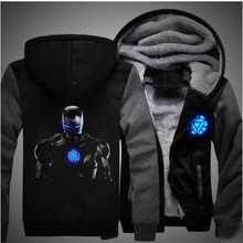 2016 New Winter Jackets and Coats Captain America hoodie Iron Man Men cool Hooded Thick Zipper Sweatshirts