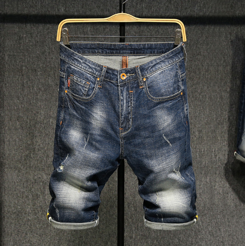 Helisopus New Men Shorts Summer Denim High Quality Fashion Casual Jeans Knee Length Stretch Large Size Plested Shorts
