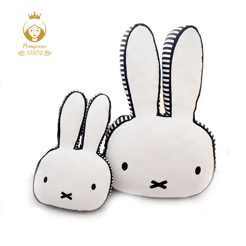 INS Hot Selling Nordic Super Cute Rabbit To Soothe Pillow, Rabbit Dolls Children's Room Decoration Gift, Baby Bedroom Decor ins hot swan soft toy cute ballerina moon cushion pink home sofa decoration pillow baby appease music doll kidstoy gift for girl