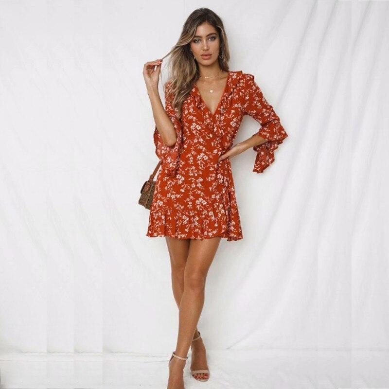 30225a0891085 ... yinlinhe Red Floral Summer Dress Short Flare Sleeve Sexy Beach Wrap  Dress Women Cotton Slim Waist ...