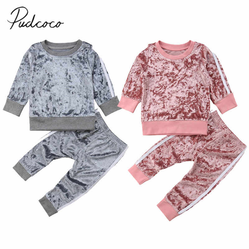 2018 Brand New Toddler Baby Girls Fashion Clothes Sets 2PCS Velvet Long Sleeve Solid Pullover Sweatshirt Tops+Pants Outfit 6M-5Y