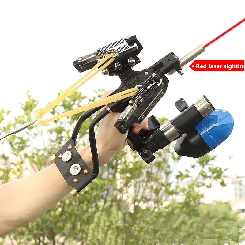 Powerful Profesional Adjustable Stainless Hunting Slingshot With Spring High Velocity Catapult Outdoor Slingshots Shooting Arrow