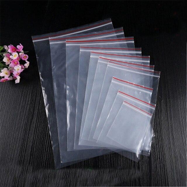 100 pcs Auto Vedação Saquinho Zip Zipper Fechamento Plástico Transparente Sacos 4*6/6*8/8*12/12*17 cm Limpar Ziplock Bag Para Jóias Embalagem