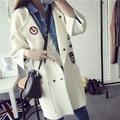 НОВОЕ прибытие осень куртка женщин 2015 Корейской Моды Свободные Повседневные Девушки Вязаный Кардиган Пальто DX305