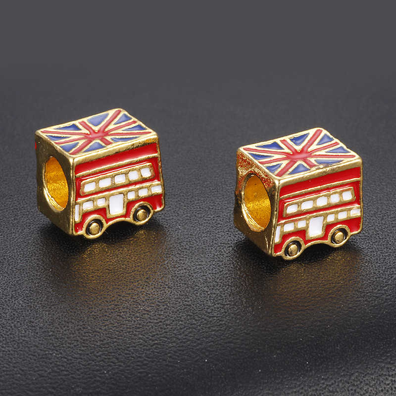 CUTEECO Gold Color Enamel British Flag Car Bead London Bus Bead Fit Pandora Snake Chain Bracelet DIY Handmade Necklace