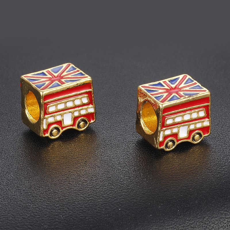 CUTEECO Gold Color Enamel British Flag Car Bead London Bus Bead Fit Pandora Snake Chain Bracelet DIY Handmade Necklace