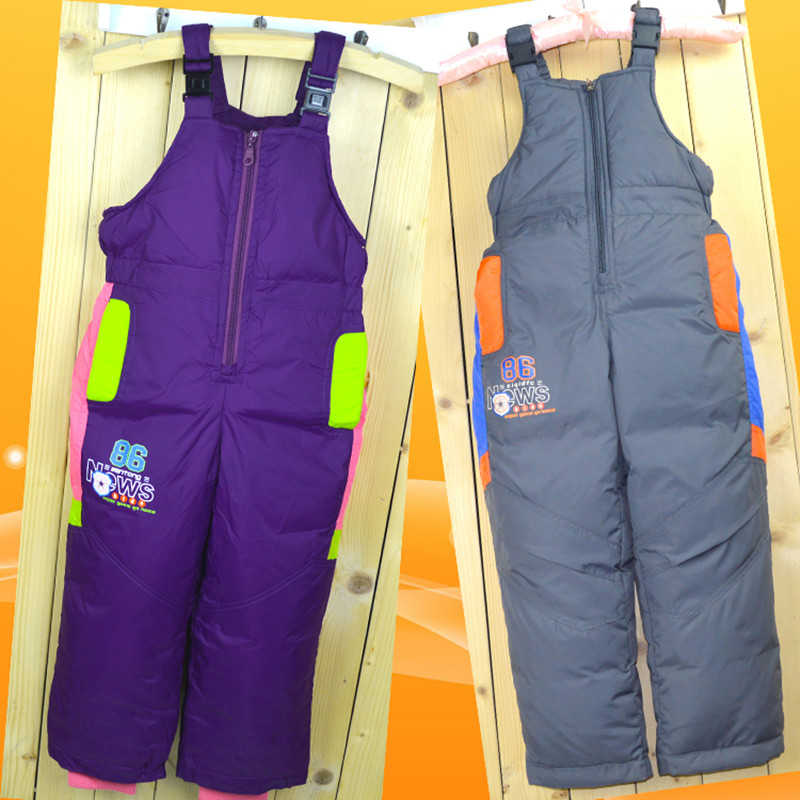 Winter Children's Ski Byxor Down Boys and Girls Hög midja Byxor - Barnkläder - Foto 4