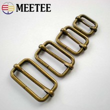 Meetee 5pcs Brass Sliders Tri-glides Pin Belt Buckle  ID20/25/32/38mm BF208 Bag Adjustable Ring Hook Hardware DIY Accessories