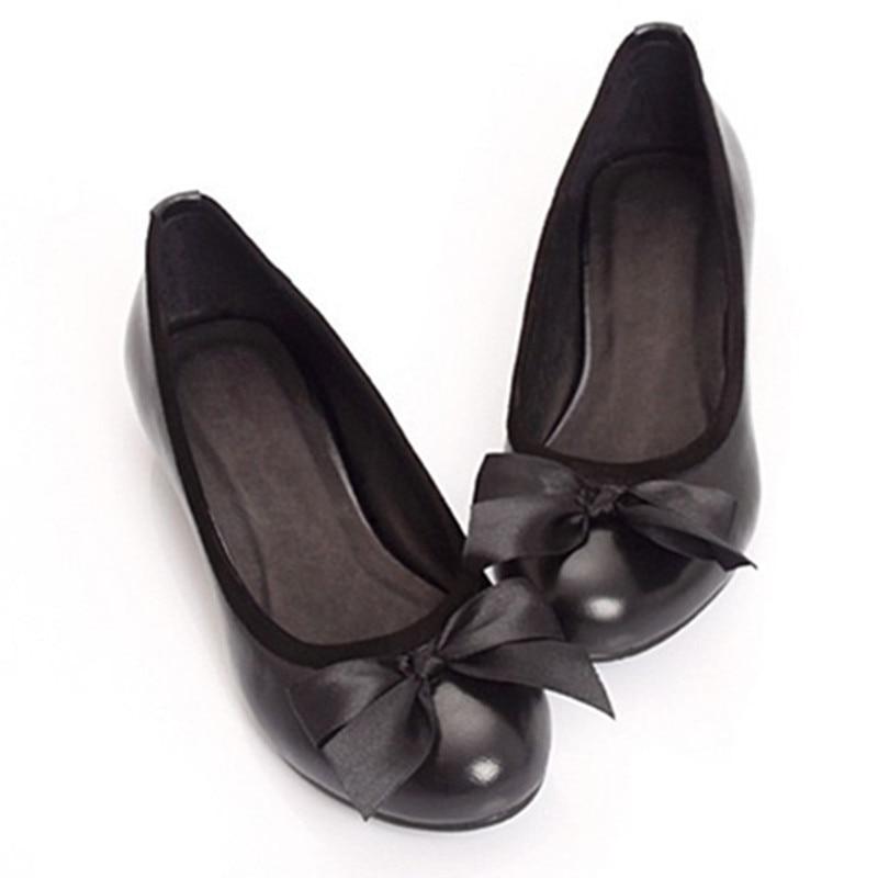 Manual Personalizado Señoras A 15 Cómodo Tamaño Cuero Bowtie Grande Sholed Finos Puro Lleno Flattie Zapatos 4 Cuña Genuino wIrrqft