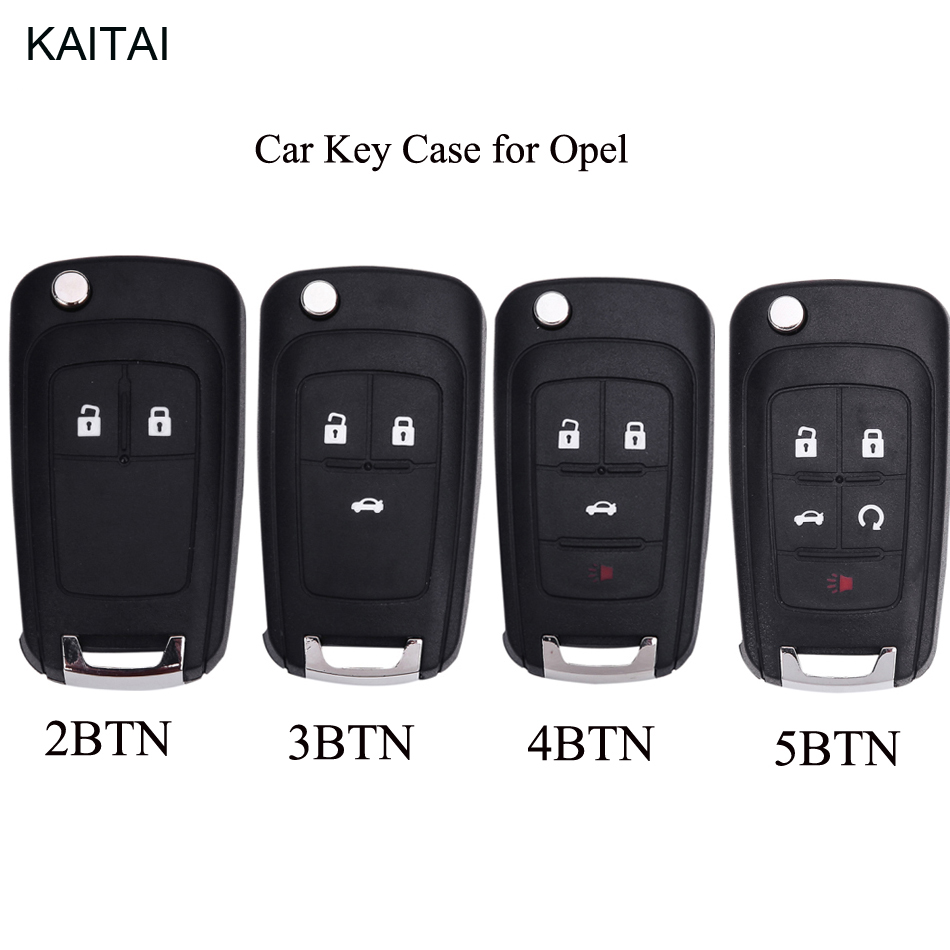 KAITAI Flip Remote Key Shell For Opel Vauxhall Astra J Corsa E Insignia Zafira C Adam Mokka Karl Key Case