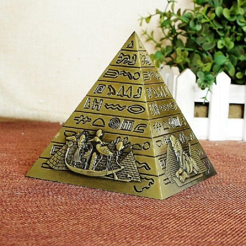 Métal égyptien pharaon Khufu pyramides Figurine pyramide bâtiment Statue Miniatures maison bureau décor de bureau cadeau Souvenir