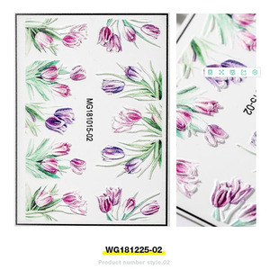 Image 5 - Fashion 3D Stickers Acrylic Engraved Flower Plant Nail Sticker Embossed Flower Nail Water Decals Empaistic Nail Slide Decals