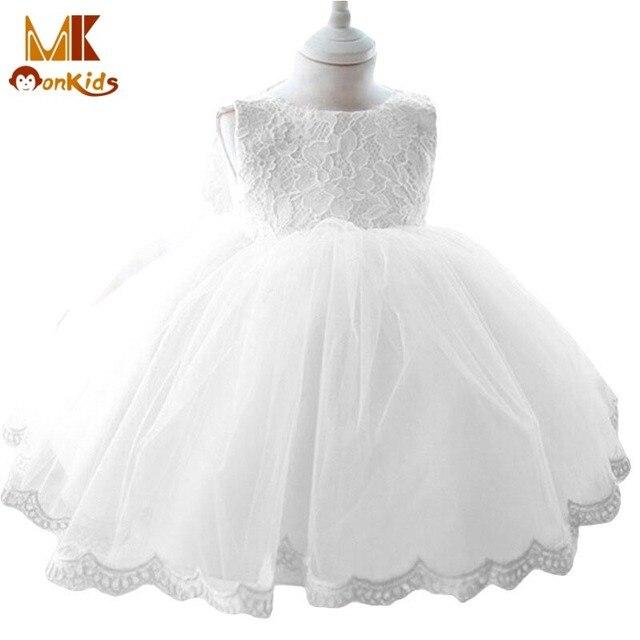 Monkids 2017 Fashion Vintage Style Baptism Baby Girl Dresses Children's Dresses Ball Gown Tutu Princess Sleeveless Baby Dress